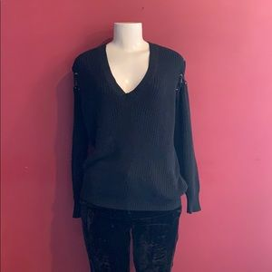 100% Cotton Black v neck Sweater size small
